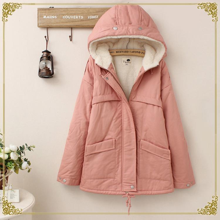 【160203】日系純色雙口袋加絨連帽棉衣外套