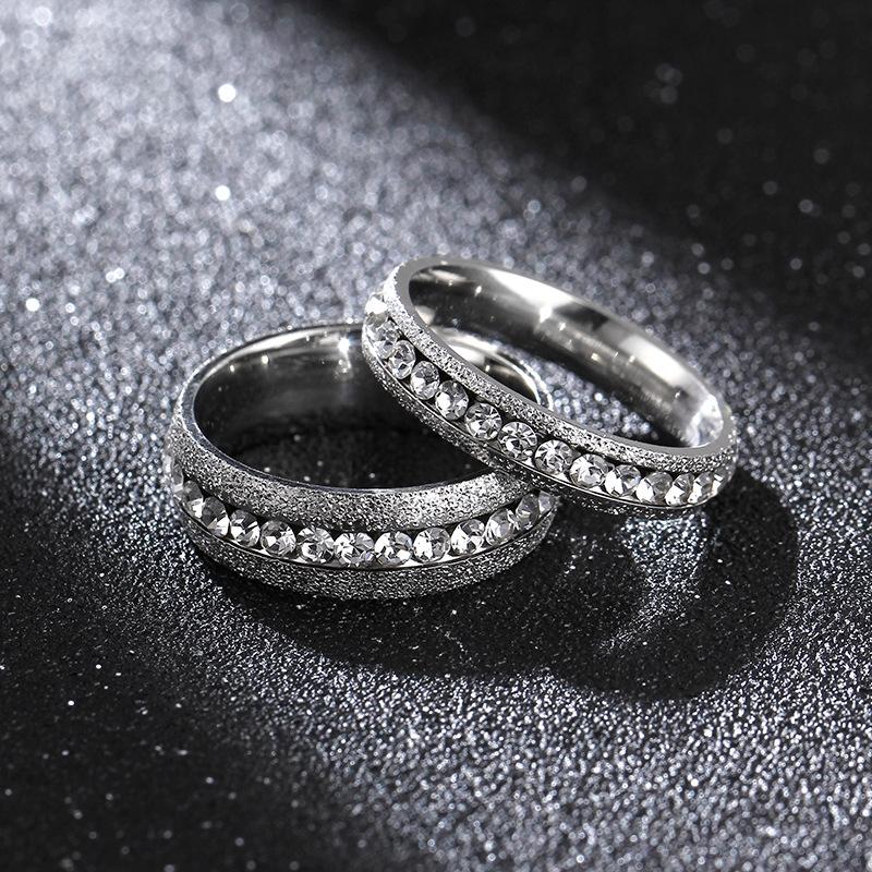 4mm 6mm 經典款百搭指環 珍珠沙鈦鋼情侶戒指