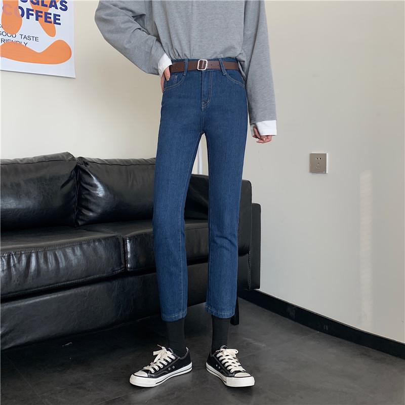 B&T女裝 S M L XL送腰帶 2021遊九分褲高腰顯瘦闊腿褲直筒緊身九分褲修身顯瘦哈倫褲 每日必穿 韓妞必備