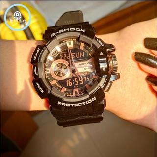 CASIO 卡西歐 G-SHOCK 防水手錶 運動鏢 機械錶 金屬系雙顯手錶-玫瑰金x黑 GA-400GB-1A4DR 桃園市