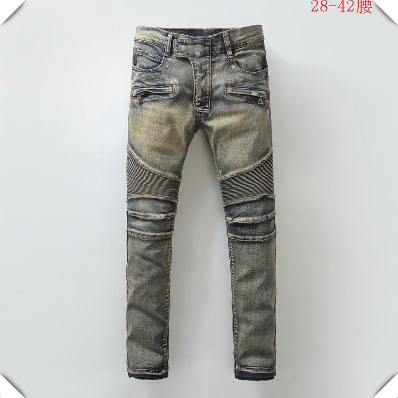BALMAIN JEANS牛仔褲 巴爾曼拼接破洞修身小腳微破洞牛仔褲男潮個性修身直筒牛仔褲69