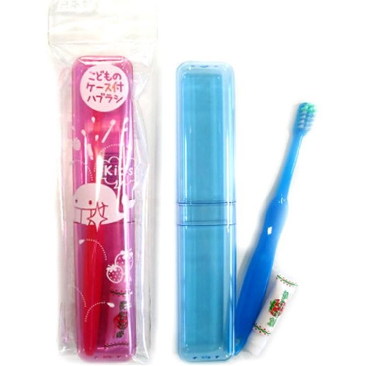06-219 兒童 牙刷 附盒 4544434902197 ~顏色隨機出貨~