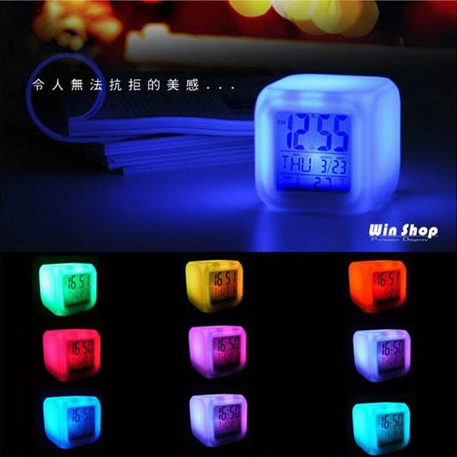 [G] 彩色變色鬧鐘 Led 鬧鐘卡通多彩變化彩色小夜燈兒童床鐘創意鬧鐘 Led 時鐘顏色鬧鐘