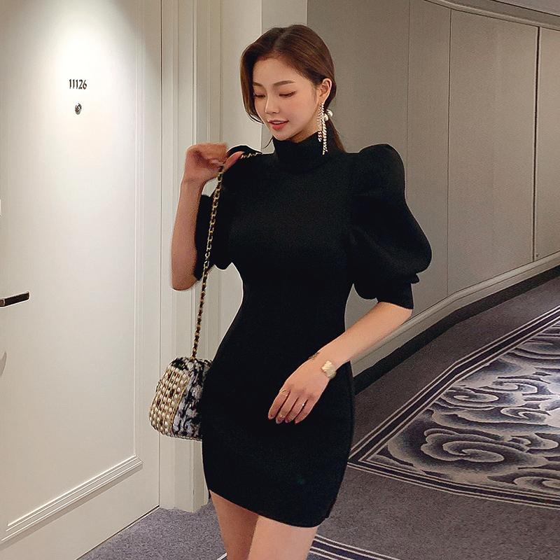 GUYU古瑜正韓洋裝五分公主袖立領包臀短洋裝顯瘦黑色短版連衣裙