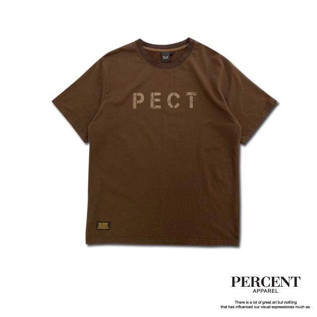 PERCENT% 軍事洗水T 咖啡色 S-2XL 藤原本舖 短袖T恤 重水洗 復古 仿舊
