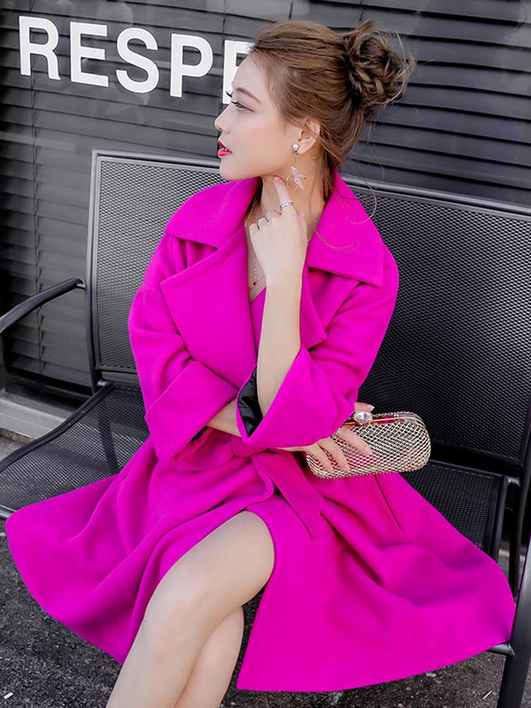 粉紅色毛呢外套女中長款2020流行秋冬新款氣質時尚赫本風呢子大衣