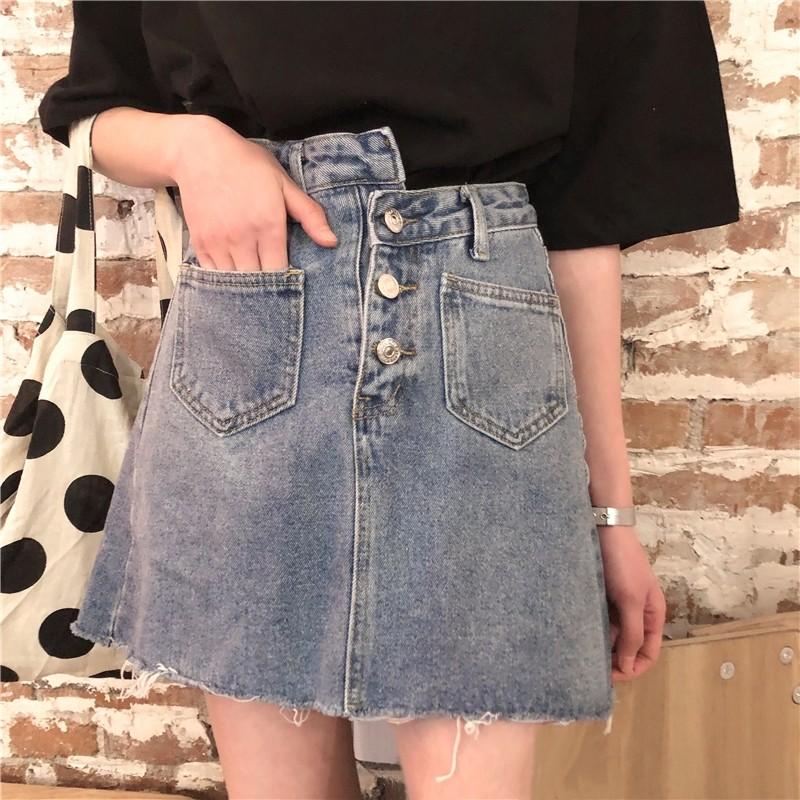 韓版復古百搭三粒扣口袋毛邊水洗牛仔短裙半身裙