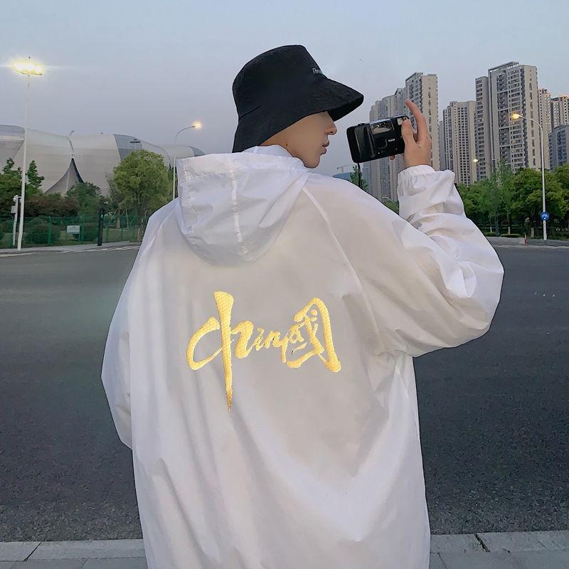 機能防護夾克 機能防護外套 防曬衣男女2021年夏季中國新款輕薄透氣帶帽戶外情侶防曬服空調衫