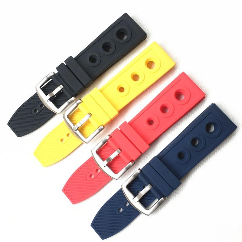 柔軟的矽膠錶帶適合 Breitling 橡膠腕帶黑鳥黃色狼復仇者聯盟超級海洋文化