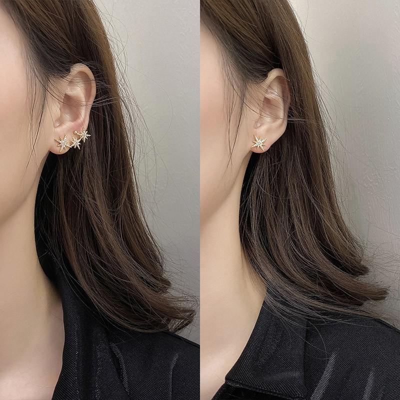 新品限售✲不對稱超仙八芒星耳環韓國氣質網紅耳釘女小巧個性高級感仙氣耳飾