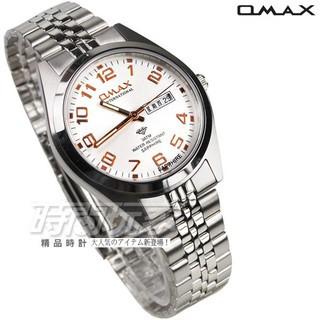OMAX 時尚城市數字圓錶 不繡鋼錶帶 藍寶石水晶玻璃 男錶 OMAX4004M白玫【時間玩家】防水手錶 日期/星期
