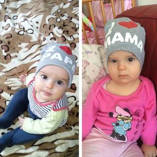 我愛爸爸媽媽套頭帽~*QQ小舖*~春秋兒童包頭帽.寶寶護耳帽.嬰兒幼兒小童棉帽.男女童棉質帽子 我愛爸爸帽 我愛媽媽帽
