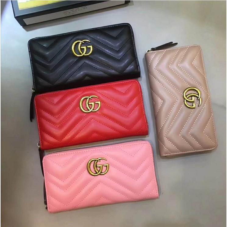 現貨新款 GUCCI/古奇雙G真皮女士長夾 歐美復古撞色百搭男女通用錢包 卡包 零錢包 女士手拿包 錢包