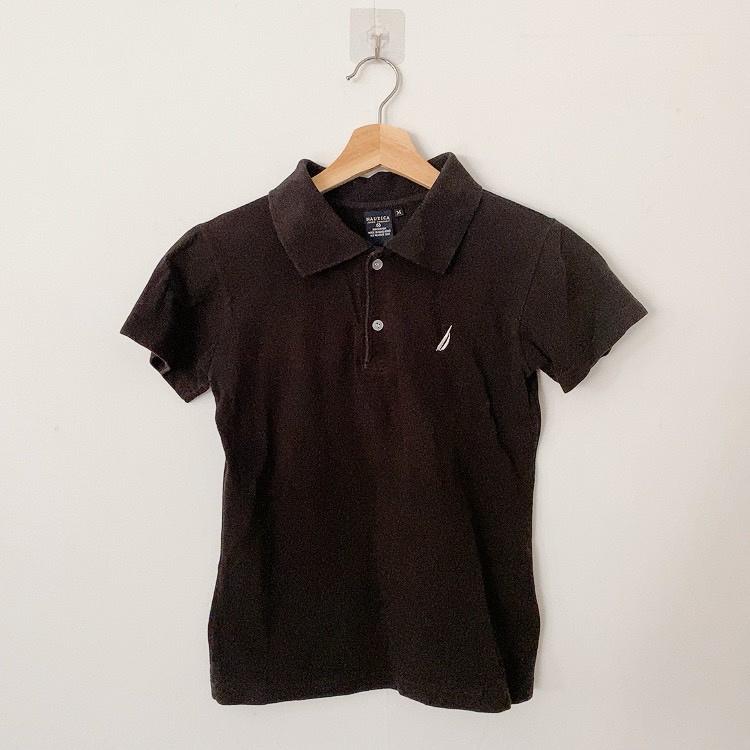 Nautica 女生黑色短袖polo衫