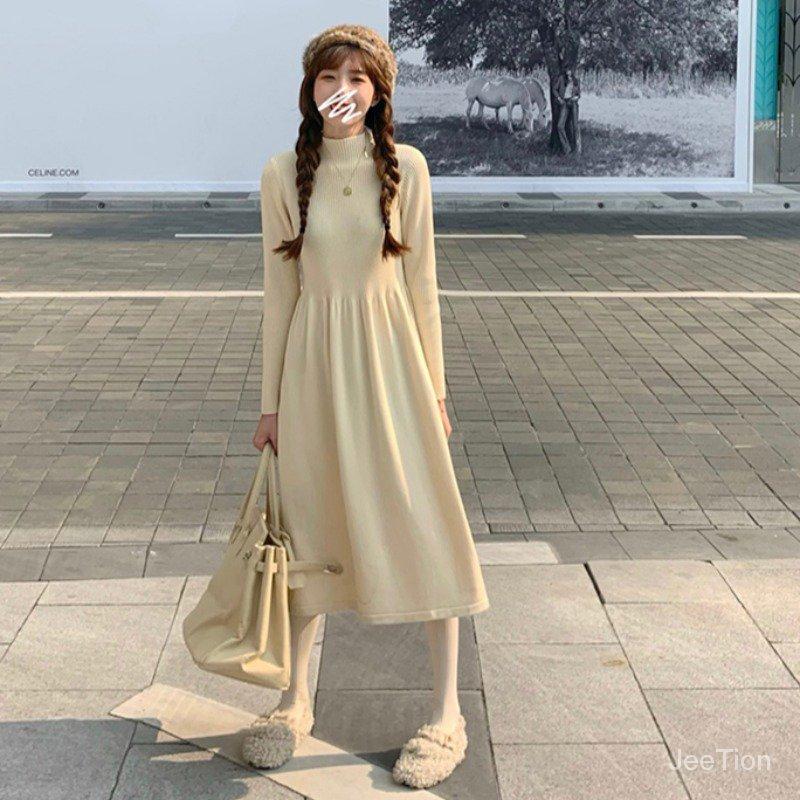 正韓學生少女長軸洋裝針織高領收腰中長裙半高領連衣裙氣質坑條娃娃裙子