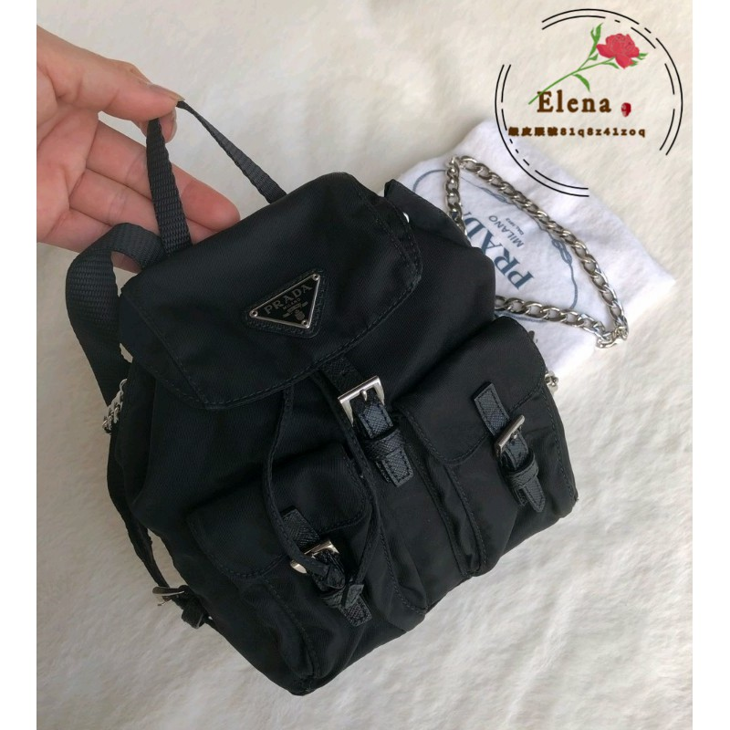 【Elena二手包館】Prada mini 雙肩包 普拉達經典黑色尼龍帆布降落傘mini鏈條雙肩包斜挎包手提包後背包