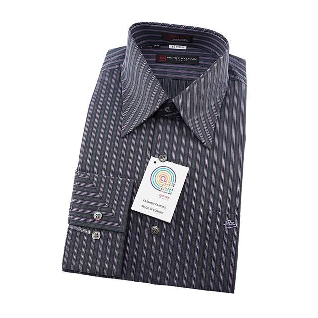 皮爾帕門pb紫色條紋、領面克夫拼接設計、紳仕歐風、進口素材寬鬆版長袖襯衫65190-08-襯衫工房
