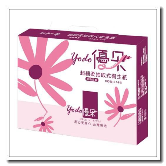 【宅配免運】Yodo優朵超細柔抽取式花紋衛生紙100抽X112包/箱