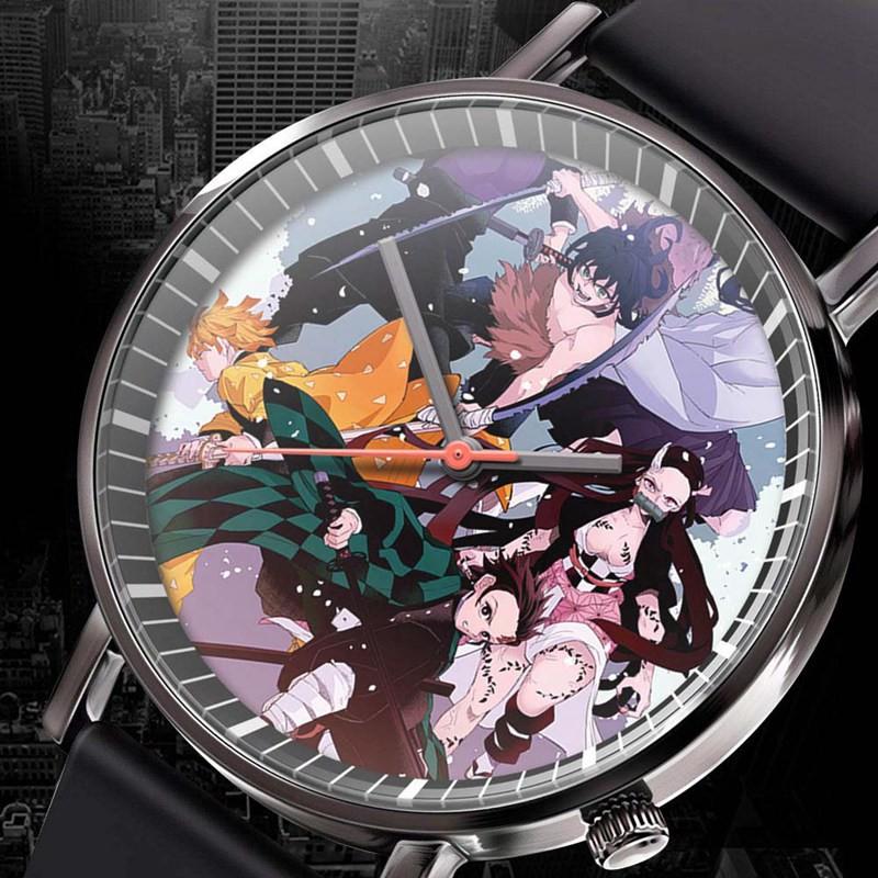 新款 動漫鬼滅之刃嘴平伊之助休閒時尚手錶 百搭男生手錶石英腕錶