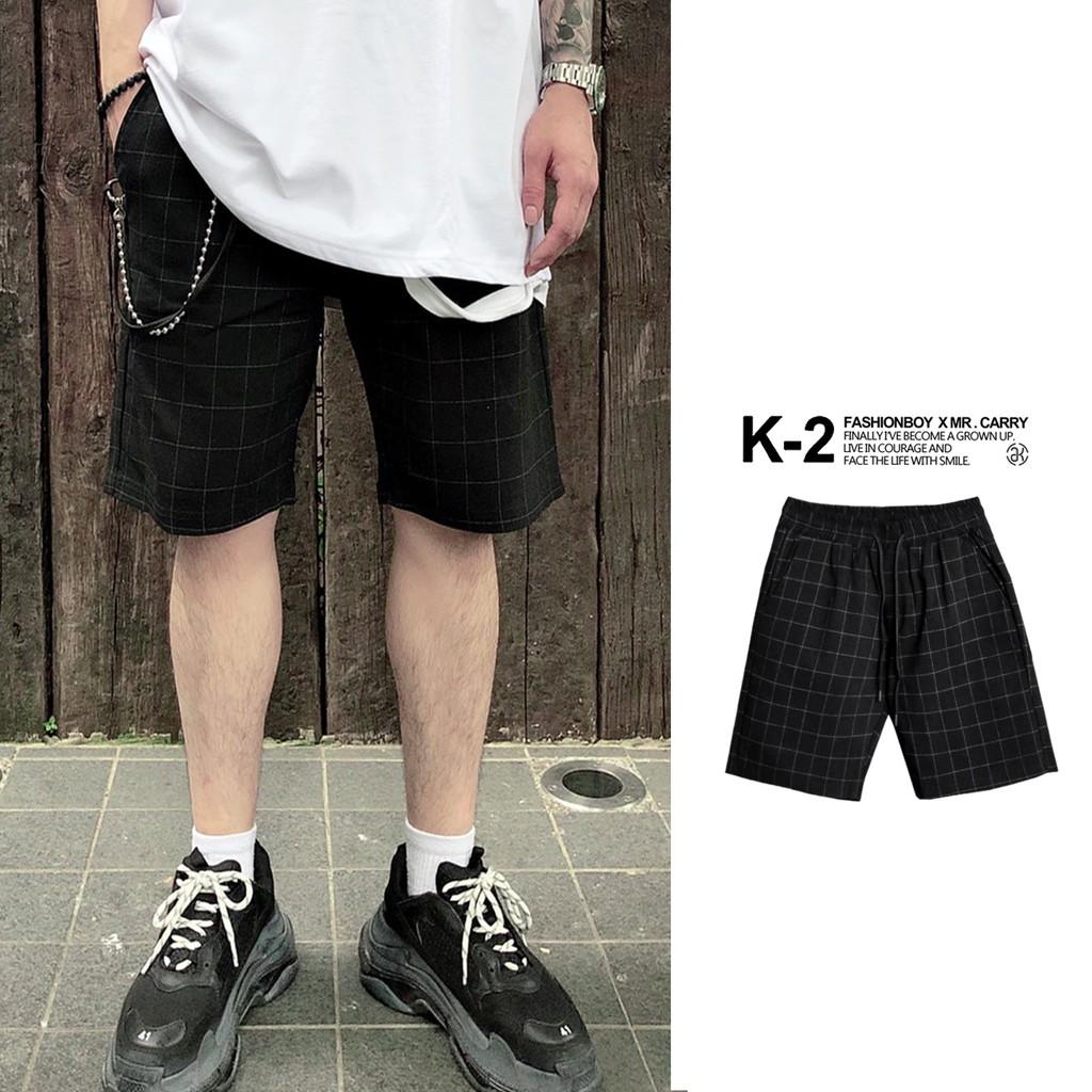 【K-2】韓國硬挺 格子 彈性短褲 休閒短褲 鬆緊抽繩 暗黑短褲 穿搭 春夏 幣被短褲 短褲【K20】