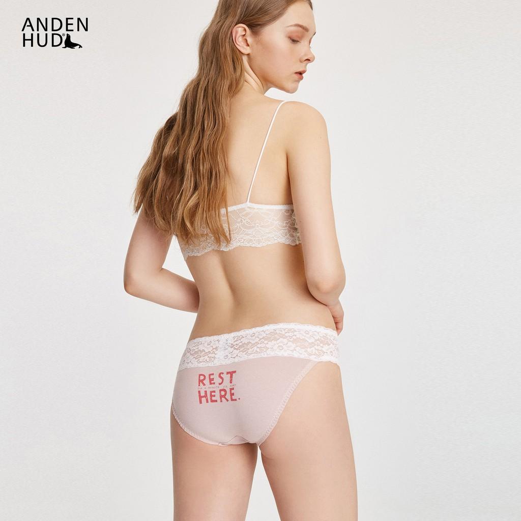 【Anden Hud】.RELEX.抓皺蕾絲中腰三角內褲(灰粉-REST) 台灣製