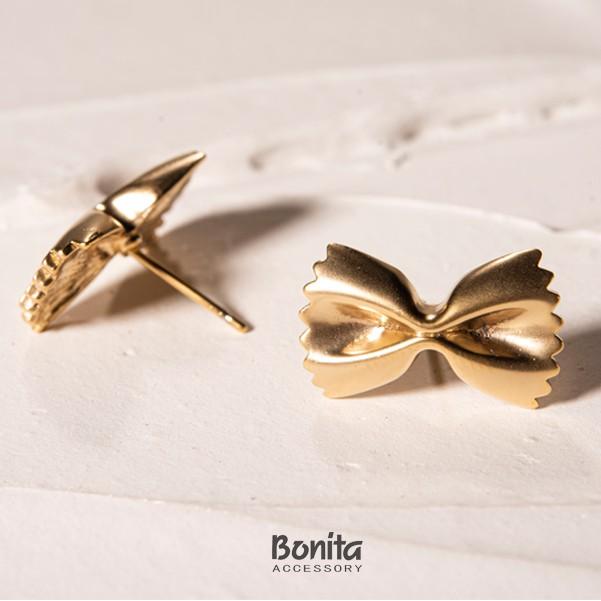 Bonita 實心蝴蝶結銅針耳環