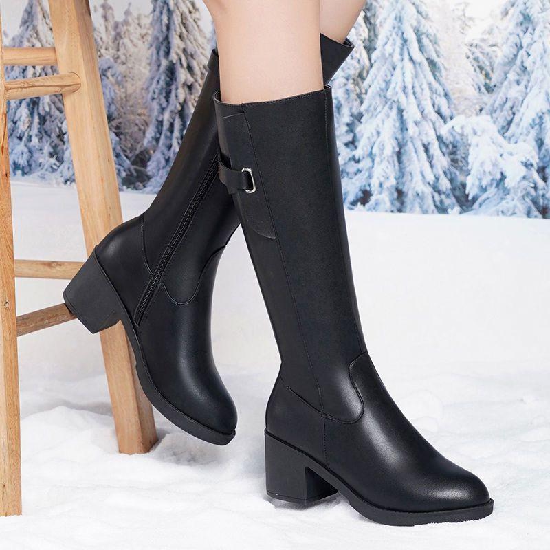 現貨免運 真軟皮新款高筒靴女高跟大碼長筒靴粗跟馬靴防滑保暖騎士靴馬丁靴 好穿不貴
