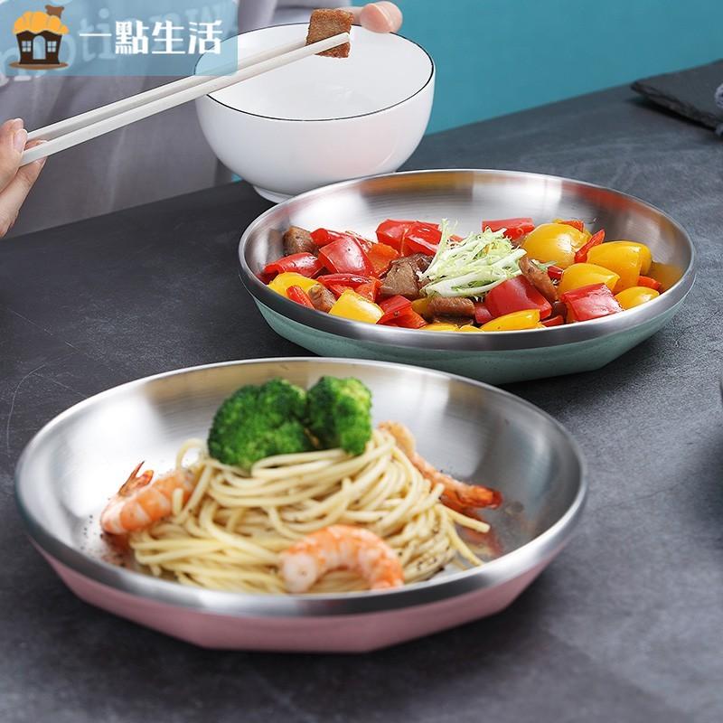 一點生活【現貨】304不鏽鋼盤子 露營盤子 托盤 菜盤家用 料理盤子 圓盤 水果盤 碟子 餐具 雙層隔熱防燙