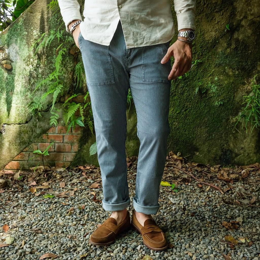 意大利 瑞典 COF Studio 太舒服了!藍染條紋修身軍褲 麵包褲