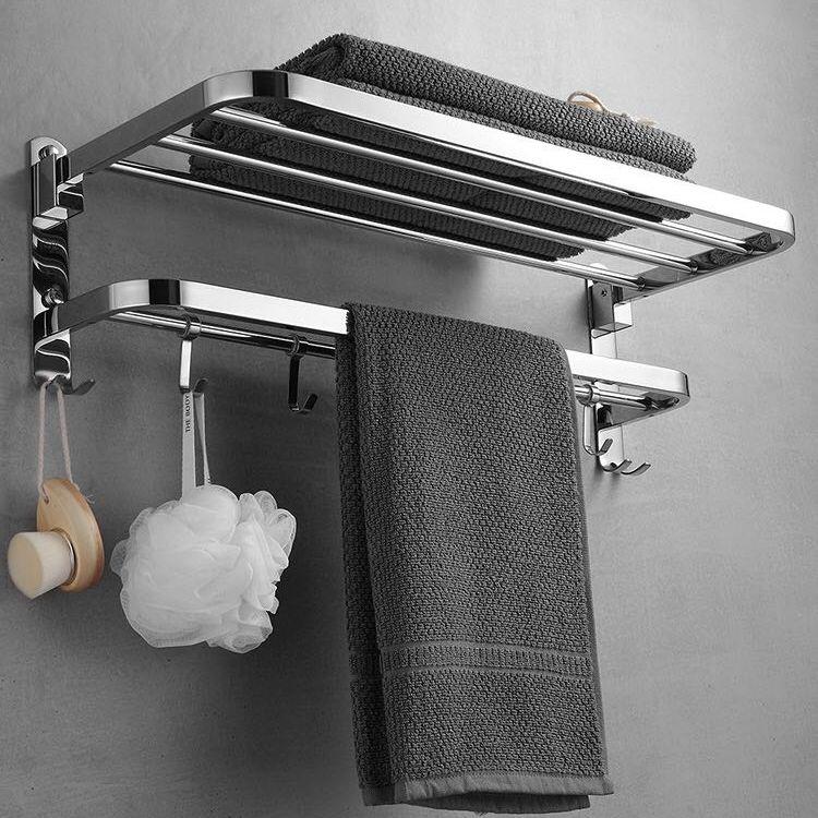 【現貨速發&🎁🎁特惠好物】摺疊浴巾架 304免打孔加厚不鏽鋼摺疊毛巾架衛生間置物架浴巾架👉WINGS品質優選