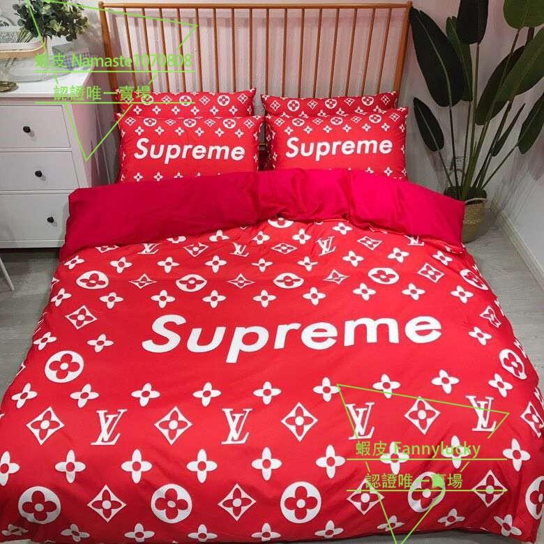 現貨現出 LV supreme聯名床包 Gucci 古馳 supreme ins網紅床包夏薄棉質雙人加大床組床罩歐美床包