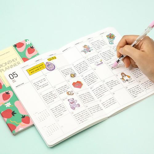 韓國ardium甜美可愛2020年日程本手帳PVC膠套月計劃手賬記事本M/L