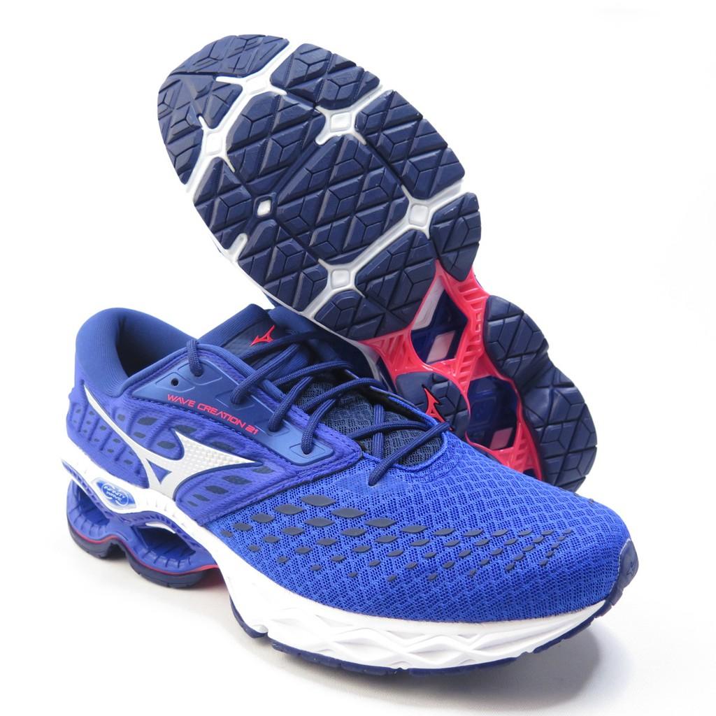 Mizuno WAVE CREATION 21 男款 慢跑鞋 U4icX中底 J1GC200101 藍【iSport】