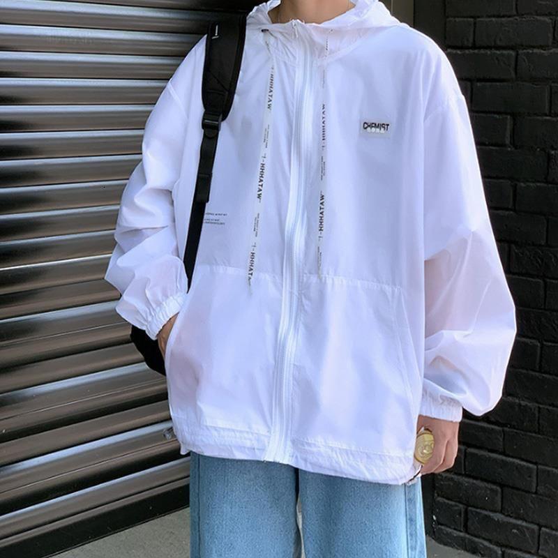 機能防護夾克 機能防護外套 防曬衣男夏季潮流寬鬆連帽遮陽外套港風學生薄款透氣百搭休閒夾克