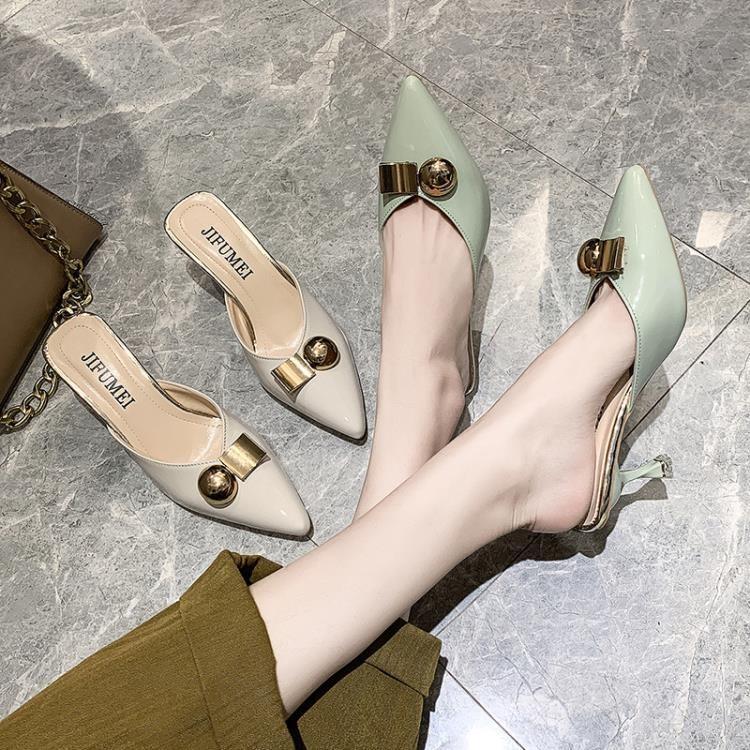 半拖鞋 包頭半拖鞋女2020新款尖頭高跟涼拖細跟女士拖鞋網紅時尚半托單鞋 2/28