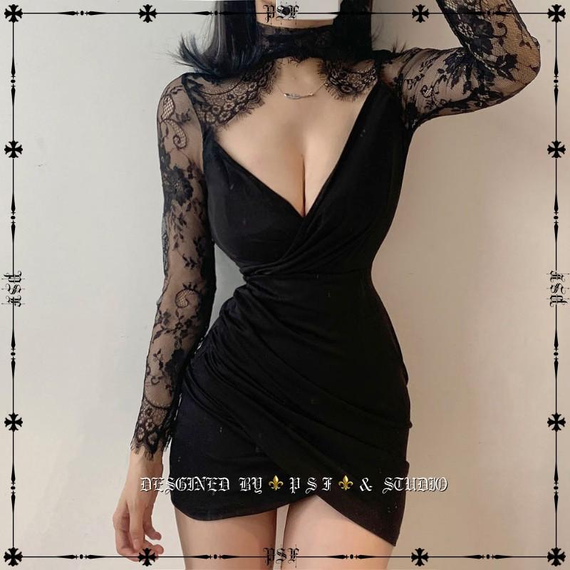 ⚜️【暗獵】⚜️ 歐美新款秋裝時髦性感長袖洋裝 蕾絲透視鏤空低胸名媛氣質修身包臀裙長袖連身裙