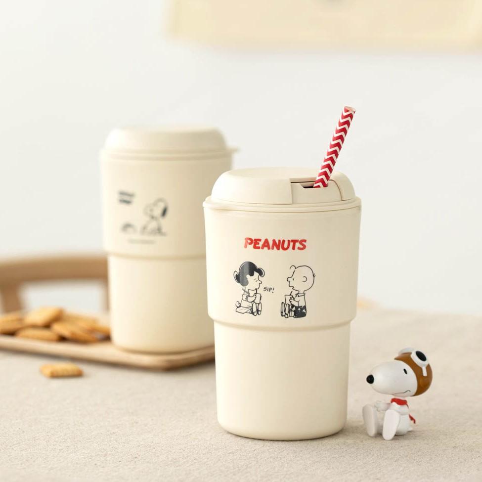 MI韓國代購|正版授權 10X10 史努比 350ML冷熱兩用環保外帶杯