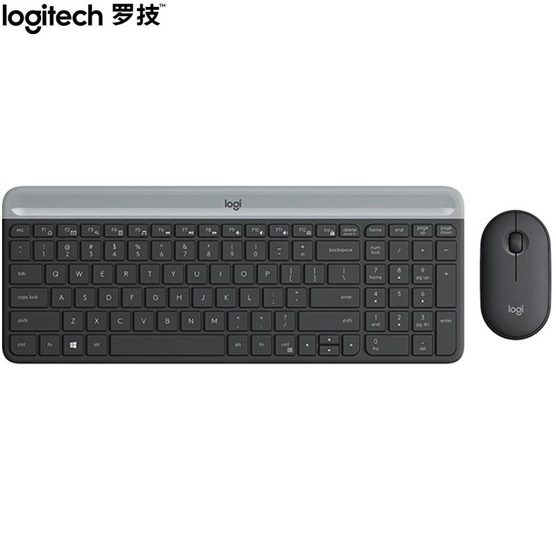 羅技(Logitech)MK470 鍵鼠套裝 無線鍵鼠套裝 超薄 全尺寸 星空灰 帶無線2.4G接收器