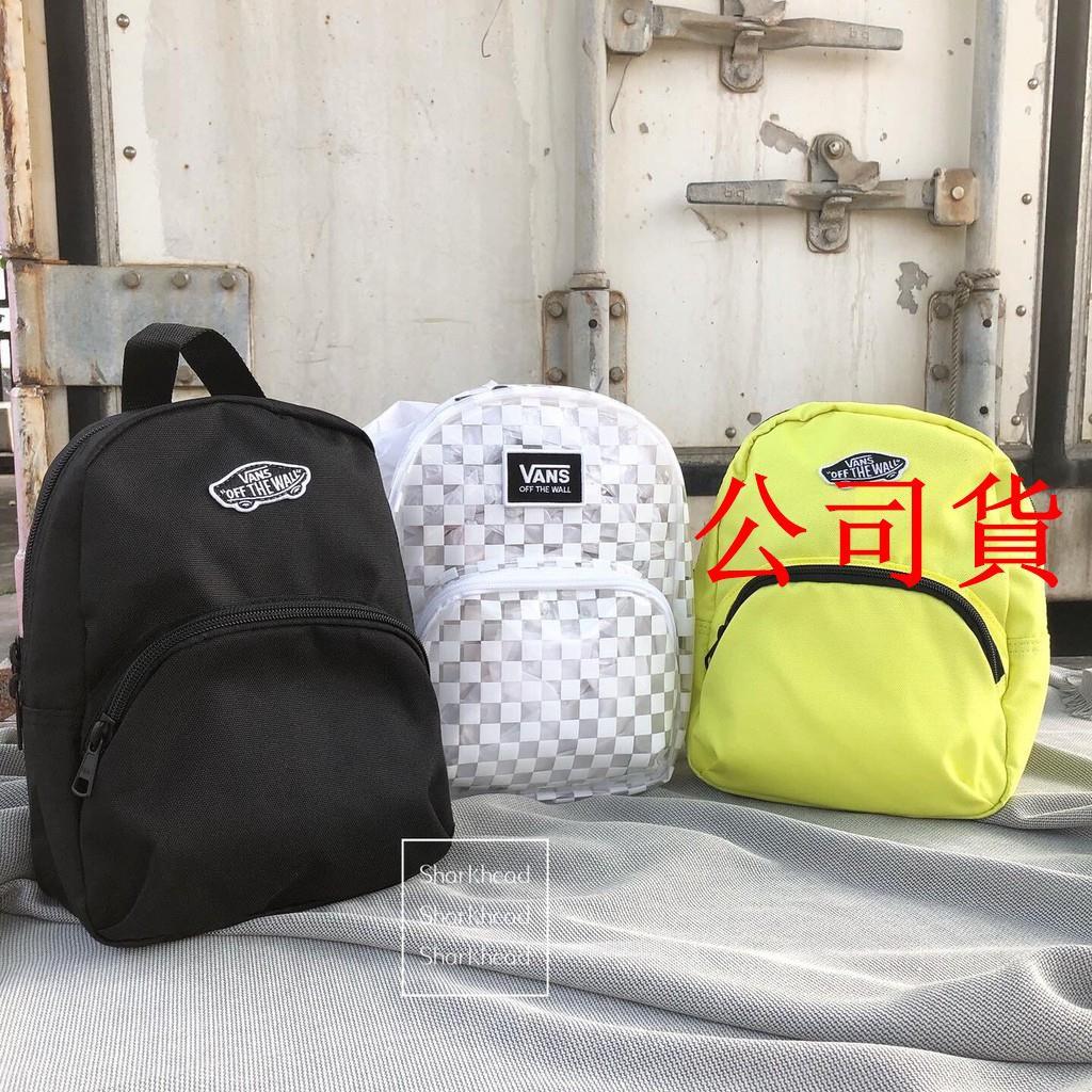 【公司貨】Vans Mini Backpack 小後背包 小包 書包 黑 透明 後背包 黃 棋盤格 白