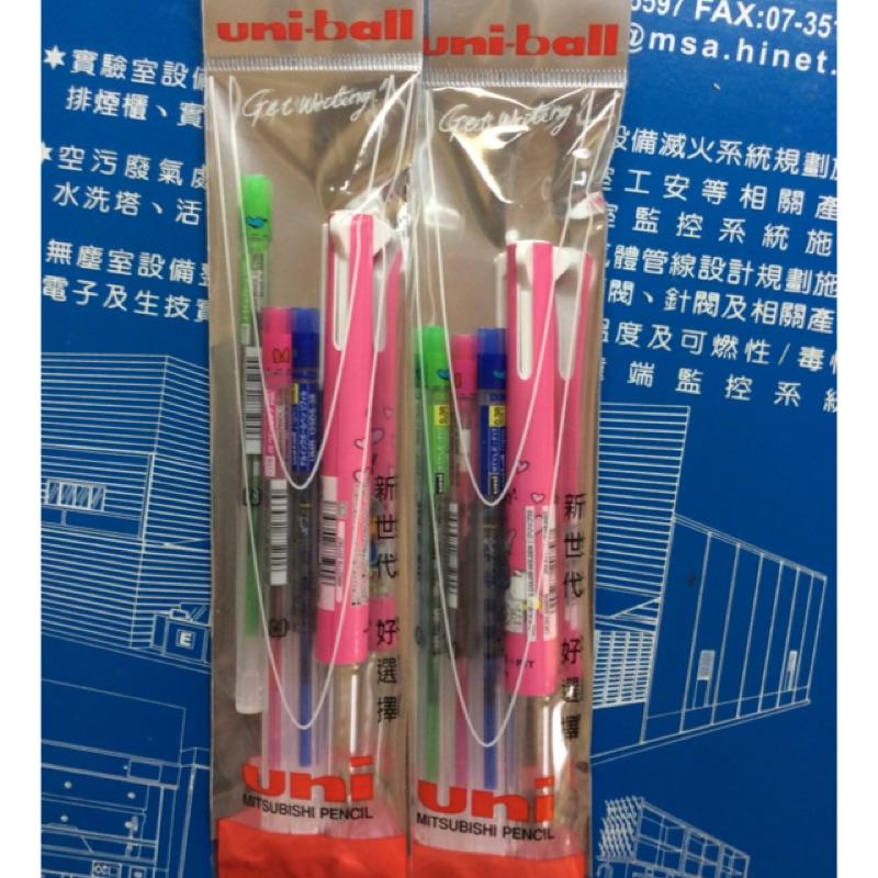 全新*三菱Uni-ball style-fit disney 迪士尼限定 唐老鴨&黛西 0.38 三色筆管+綠+藍+粉紅