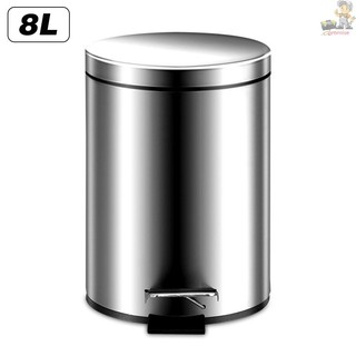 Promise-8L拉絲款【非靜音】 家用拉絲不銹鋼加厚圓形腳踏式垃圾桶帶蓋內外桶清潔收納桶