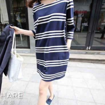 [滿額免運] 三條紋棉質哺乳裙 短袖 哺乳衣 孕婦裝 BabyShare時尚孕婦裝 (111032)
