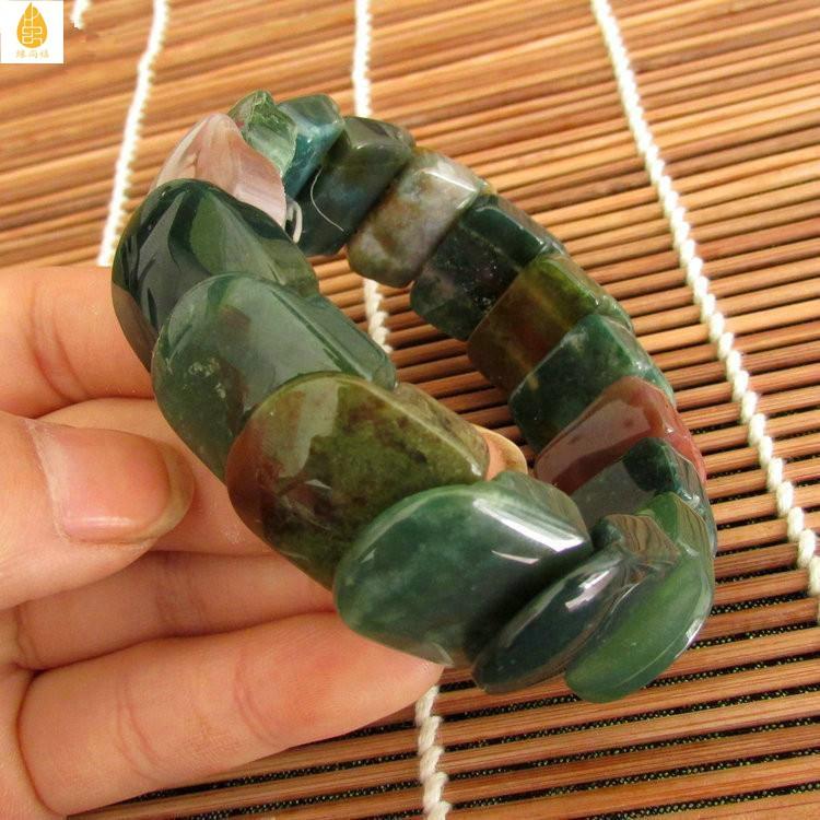 🍒🍒天然七彩玉石手排 七彩瑪瑙手鏈石來運轉 水草瑪瑙男女款手鏈