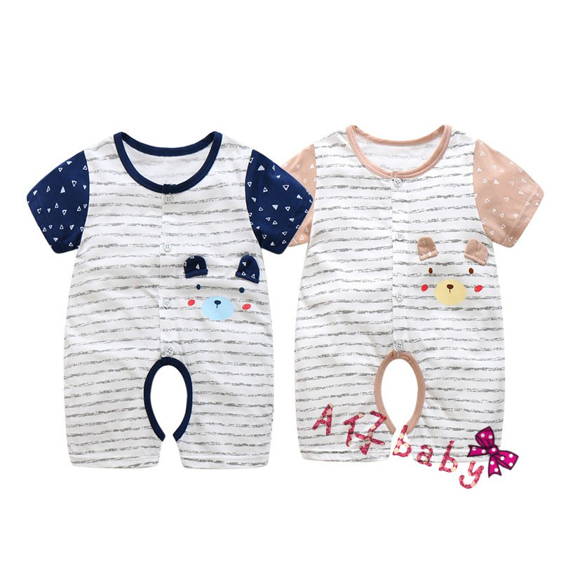 夏純棉韓版嬰兒連體衣 可愛卡通潮短袖童裝哈衣爬服