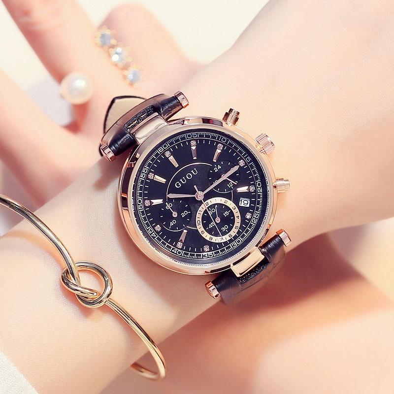 古歐洲 Guou8080 女士手錶時尚歐美古代三眼多功能石英手錶皮革日曆錶帶手錶