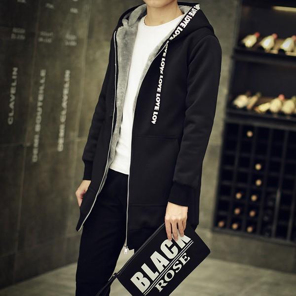 +5XL (加大尺碼)加絨加厚新款韓版修身中長款大衣連帽秋冬季男外套潮男外套