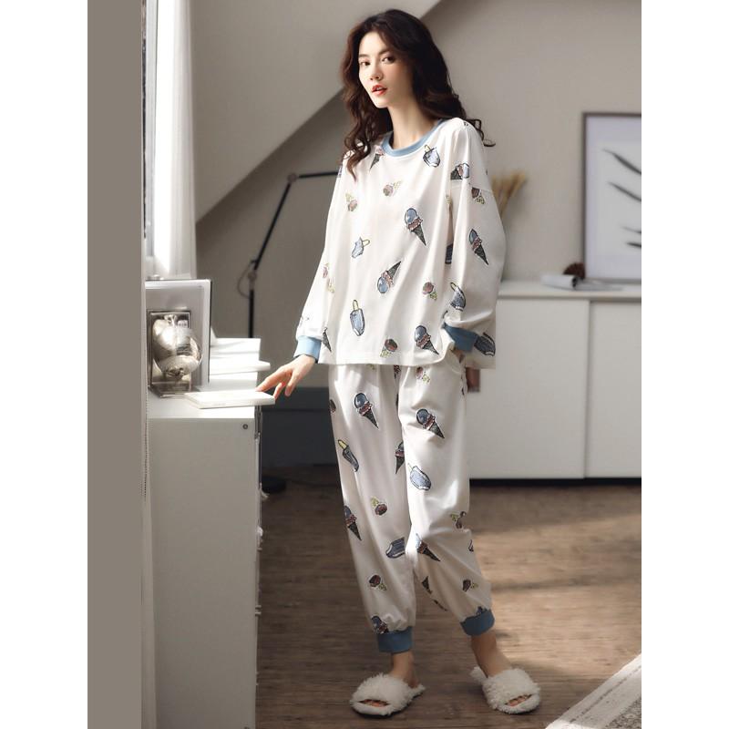 2020新款春秋季睡衣女士純棉長袖韓版甜美全棉秋冬家居服兩件套裝