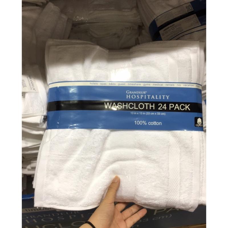 Costco好市多代購 商用純棉白方巾24件 方巾 33x33公分 一個訂單限一個