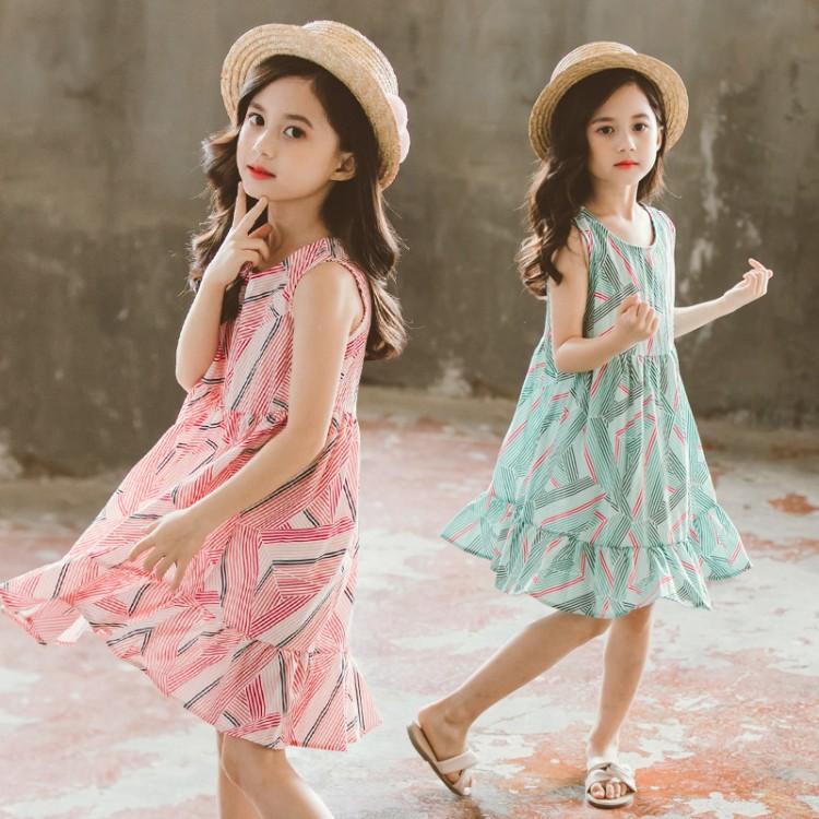 女童夏季連衣裙 細條連身裙 小女孩洋裝