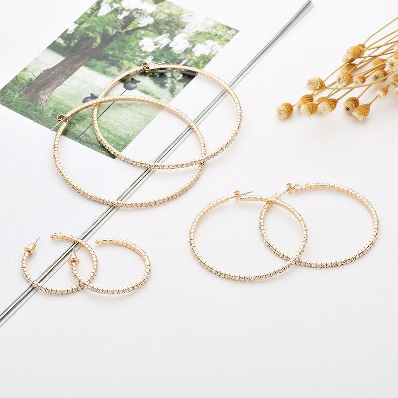 潮妞必備女生配件飾品 純銀耳環Wish新款鑲鉆耳圈滿鉆大圈多尺寸鋼絲彈力耳環廠家供貨E602